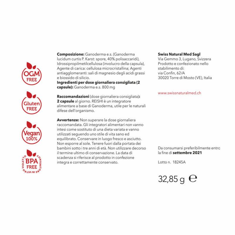 SwissNaturalMed Reishi etichetta