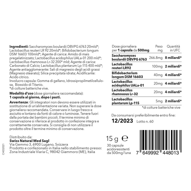 SwissNaturalMed Pro-Bio24 etichetta